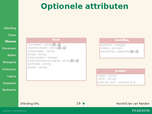 Optionele attributen klant bestelling voornaam : string [0..1]